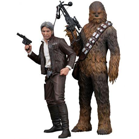 Star Wars Episode VII pack 2 statuettes 1/10 ARTFX+ Han Solo & Chewbacca Kotobukiya
