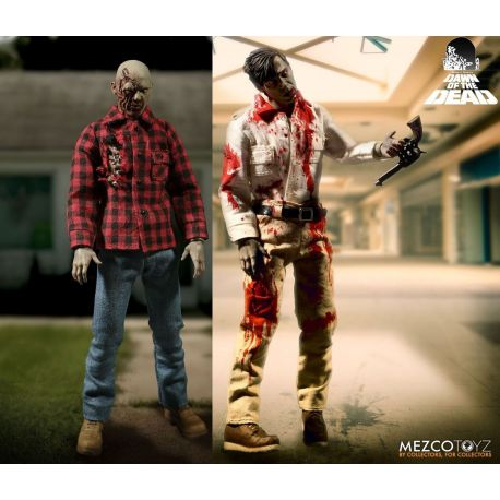 Dawn Of The Dead pack 2 figurines 1/12 Flyboy & Plaid Shirt Zombie Mezco Toys