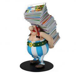 Asterix statuette Collectoys Obelix pile d'albums Plastoy