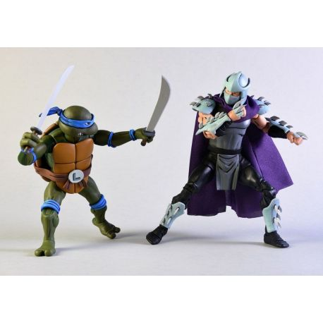 Les Tortues ninja pack 2 figurines Leonardo vs Shredder NECA