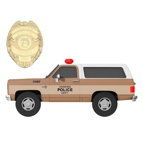 Stranger Things 1/24 Chief Hopper's 1980 Chevy K5 Blazer métal avec badge Jada Toys