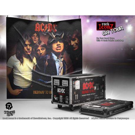 AC/DC statuette Rock Ikonz On Tour Highway to Hell caisse de tournée + décor de scène Knucklebonz