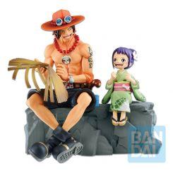 One Piece statuette Ichibansho Portgas D. Ace & Otama Emorial Vignette Bandai