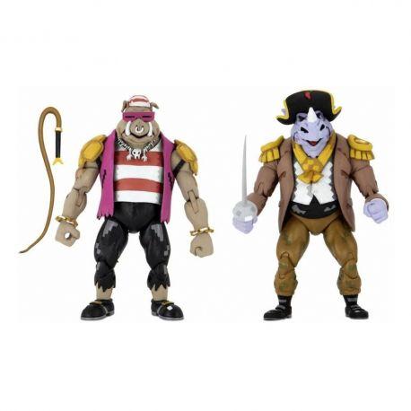 Les Tortues ninja : Turtles in Time pack 2 figurines Pirate Rocksteady & Bebop Neca