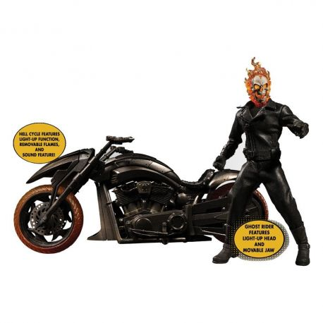Figurine Ghost Rider & véhicule Hell Cycle sonore et lumineux 1/12 Mezco Toys