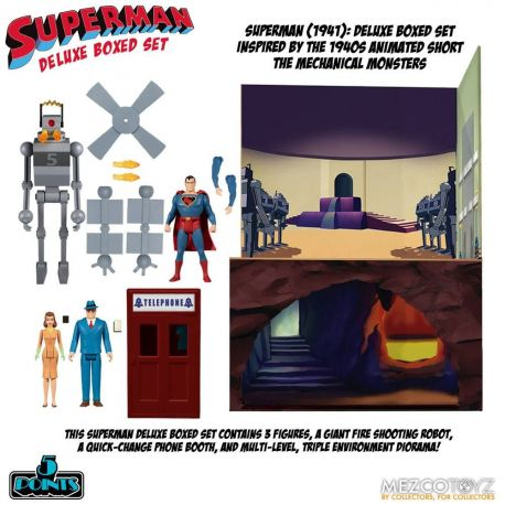 Superman The Mechanical Monsters (1941) figurines 5 Points Deluxe Box Set Mezco Toys