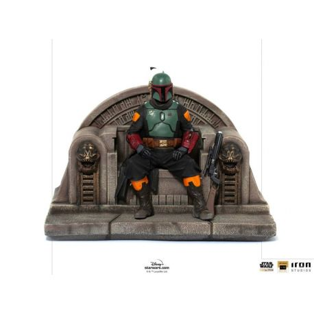 Star Wars The Mandalorian statuette Boba Fett on Throne Iron Studios