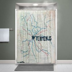 Walking Dead rideau de douche Terminus Map ThinkGeek